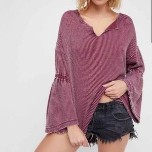 Free People Dahlia Mauve Bell Sleeve Thermal Top